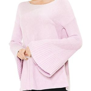 Vince Camuto Pink Ribbed Bell Sleeve Sweater